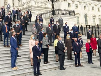 House Republicans gather outside the U.S. Capitol to discuss future plans on Sept. 15, 2020.