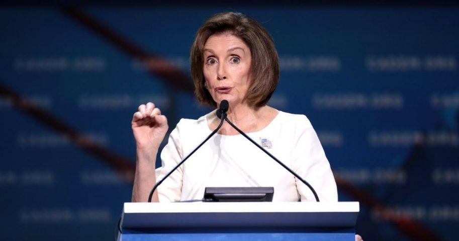 House Speaker Nancy Pelosi speaking from podium
