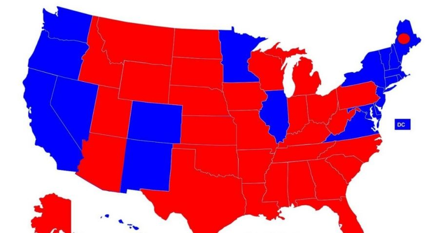 The 2016 Electoral College map is seen above.