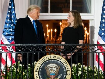 President Donald J. Trump and U.S. Supreme Court Associate Justice Amy Coney Barrett stand together on the Blue Room balcony Monday, Oct. 26, 2020, following Justice Barrett's swearing-in ceremony on the South Lawn of the White House. (Official White House Photo by Andrea Hanks)