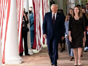 resident Donald J. Trump walks with Judge Amy Coney Barrett, his nominee for Associate Justice of the Supreme Court of the United States, along the West Wing Colonnade on Saturday, September 26, 2020, following announcement ceremonies in the Rose Garden. (Official White House Photo by Shealah Craighead)