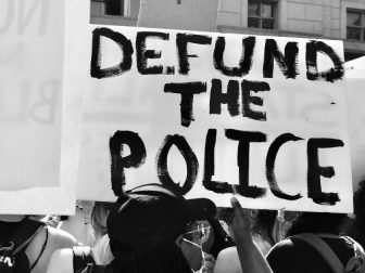 Black & White Defund the Police sign