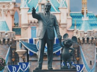Walt Disney and Mickey statue in Anaheim, California