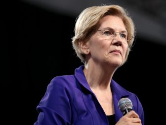 U.S. Senator Elizabeth Warren speaking with attendees at the 2019 National Forum on Wages and Working People hosted by the Center for the American Progress Action Fund and the SEIU at the Enclave in Las Vegas, Nevada.