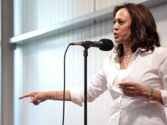 U.S. Senator Kamala Harris speaking with attendees at a fundraiser hosted by the Iowa Asian and Latino Coalition at Jasper Winery in Des Moines, Iowa.