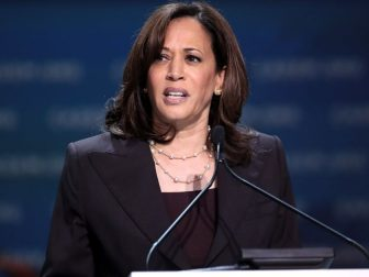 U.S. Senator Kamala Harris speaking with attendees at the 2019 California Democratic Party State Convention at the George R. Moscone Convention Center in San Francisco, California.