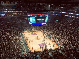 Views from the upper Deck of a Los Angels Lakers Game in early December.