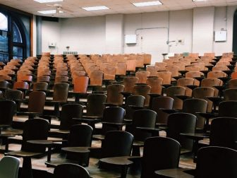 Dimly lit college lecture hall