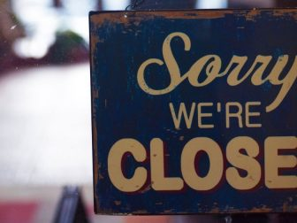 Sorry We're Closed signboard during lockdown