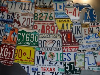 Map of USA out of license plates