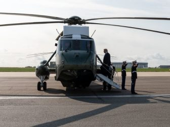 President Donald J. Trump boards Marine One Monday, June 3, 2019, to Stansted Airport in England, for the start of a three-day state visit with to the United Kingdom. (Official White House Photo by Shealah Craighead)