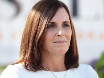 U.S. Senator Martha McSally speaking with the media after a campaign event with former United Nations Ambassador Nikki Haley at a home in Scottsdale, Arizona.