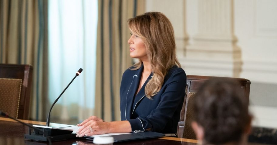 First Lady Melania Trump delivers remarks during a briefing with members of the President's Task Force on Protecting Native American Children in the Indian Health Service System Thursday, July 23, 2020, in the State Dining Room of the White House. (Official White House Photo by Andrea Hanks)