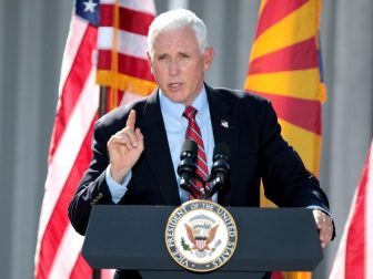 "Vice President of the United States Mike Pence speaking with supporters at a ""Make America Great Again"" rally at TYR Tactical in Peoria, Arizona."