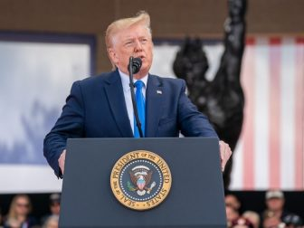 President Donald J. Trump delivers remarks at the 75th Commemoration of D-Day Thursday, June 6, 2019, at the Normandy American Cemetery in Normandy, France. (Official White House Photo by Shealah Craighead)