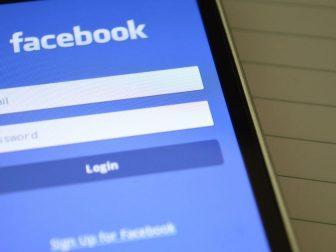 Smartphone showing Facebook login page