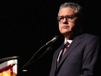 Jeffrey Toobin speaking at the 2017 John J. Rhodes Lecture hosted by Barrett, the Honors College at Arizona State University at the Tempe Center for the Arts in Tempe, Arizona.