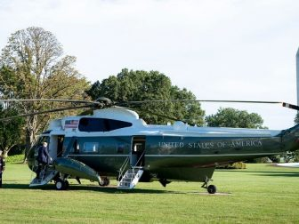 President Donald J. Trump boards Marine One Saturday, Sept. 19, 2020, to begin his trip to Fayetteville, N.C. (Official White House Photo by Tia Dufour)