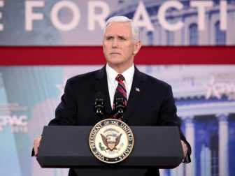 Vice President of the United States Mike Pence speaking at the 2018 Conservative Political Action Conference (CPAC) in National Harbor, Maryland.