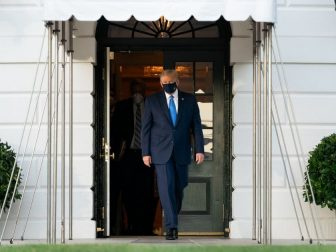 President Donald J. Trump walks across the South Lawn of the White House and boards Marine One Friday, Oct. 2, 2020, en route to Walter Reed National Military Medical Center in Bethesda, Md. (Official White House Photo by Andrea Hanks)
