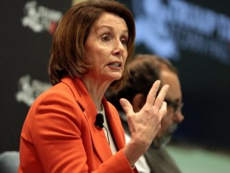 Minority Leader Nancy Pelosi speaking with attendees at a Trump Tax Town Hall hosted by Tax March at Events on Jackson in Phoenix, Arizona.