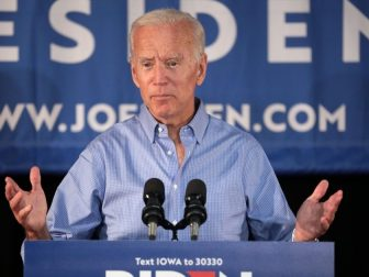 Former Vice President of the United States Joe Biden speaking with supporters at a community event at the Best Western Regency Inn in Marshalltown, Iowa.