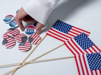 American flags and vote pins