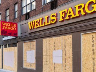 Boarded up Wells Fargo bank