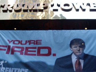 You're Fired The Apprentice banner on Trump Tower