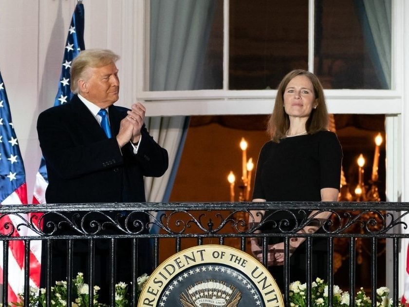 President Donald J. Trump and U.S. Supreme Court Associate Justice Amy Coney Barrett stand together on the Blue Room balcony Monday, Oct. 26, 2020, following Justice Barrett's swearing-in ceremony on the South Lawn of the White House.