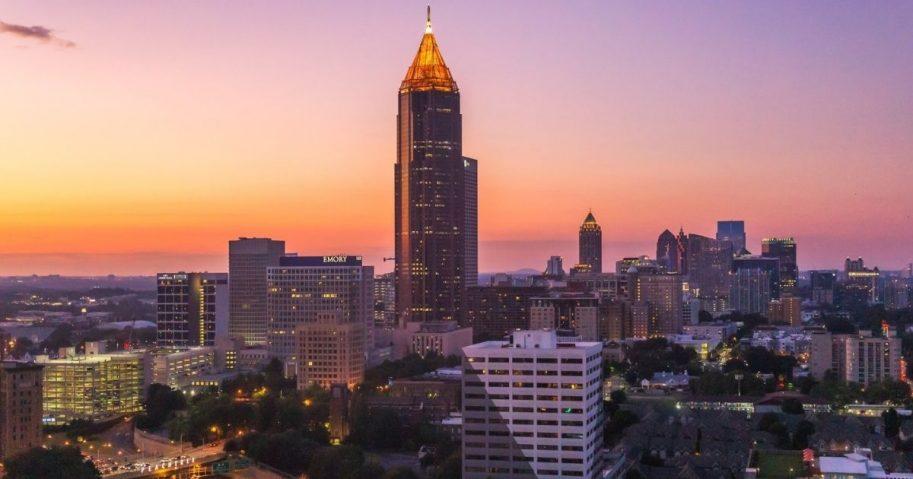 Midtown Atlanta skyline at just after sunset