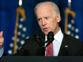 Vice President Joe Biden addresses National Defense University at Fort McNair in Washington, , D.C. April 9, 2015. Biden spoke at NDU about US military successes defeating ISIS. (DoD News photo by EJ Hersom)