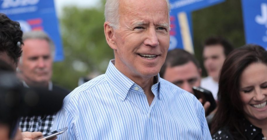 Former Vice President of the United States Joe Biden walking with supporters at a pre-Wing Ding march from Molly McGowan Park in Clear Lake, Iowa.