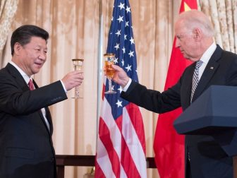 With U.S. Secretary of State John Kerry looking on, U.S. Vice President Joe Biden raises his glass to toast Chinese President Xi Jinping at a State Luncheon in the Chinese President's honor at the U.S. Department of State in Washington, D.C., on September 25, 2015. [State Department photo/ Public Domain]
