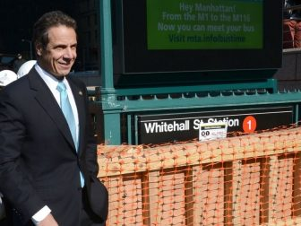 Governor Andrew Cuomo at Whitehall St. Station where removable subway stairs flood control covers are inspected as he, MTA Chairman & CEO Thomas Prendergast, along with Housing & Urban Development Secretary Shaun Donovangive resiliency tour on the first anniversary of Superstorm Sandy.