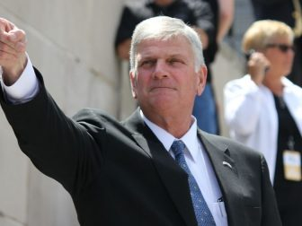 Rev. Franklin Graham greets attendees at a stop in Lincoln, Neb. during his Decision America tour in 2016.