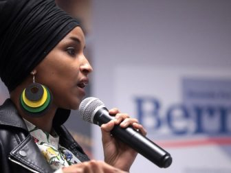 U.S. Congresswoman Ilhan Omar speaking with supporters of U.S. Senator Bernie Sanders at a town hall hosted by Frontline Communities of Nevada at the SEIU Nevada office in Las Vegas, Nevada.