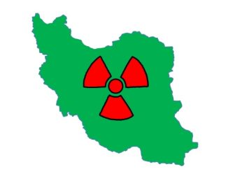 Iran with nuclear symbol