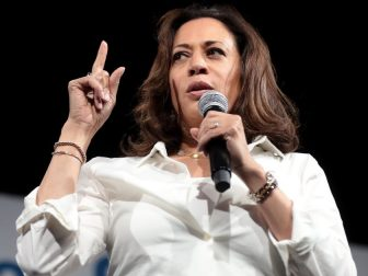 U.S. Senator Kamala Harris speaking with attendees at the Presidential Gun Sense Forum hosted by Everytown for Gun Safety and Moms Demand Action at the Iowa Events Center in Des Moines, Iowa.
