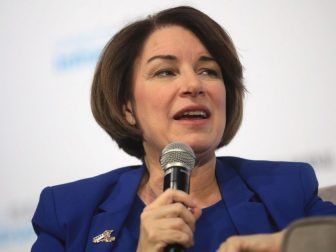 U.S. Senator Amy Klobuchar speaking with attendees at the Moving America Forward Forum hosted by United for Infrastructure at the Student Union at the University of Nevada, Las Vegas in Las Vegas, Nevada.
