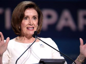 Speaker of the House Nancy Pelosi speaking with attendees at the 2019 California Democratic Party State Convention at the George R. Moscone Convention Center in San Francisco, California.