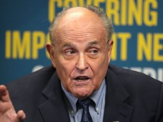 Former Mayor Rudy Giuliani speaking with the media at the 2019 Student Action Summit hosted by Turning Point USA at the Palm Beach County Convention Center in West Palm Beach, Florida.