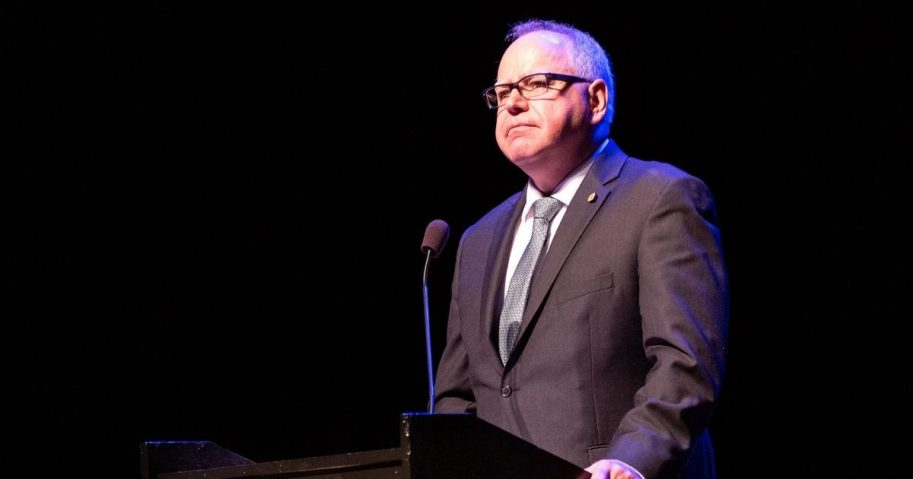Governor Tim Walz addresses the audience at the Fitzgerald Theater after being sworn in as Minnesota's 41st governor, St Paul MN