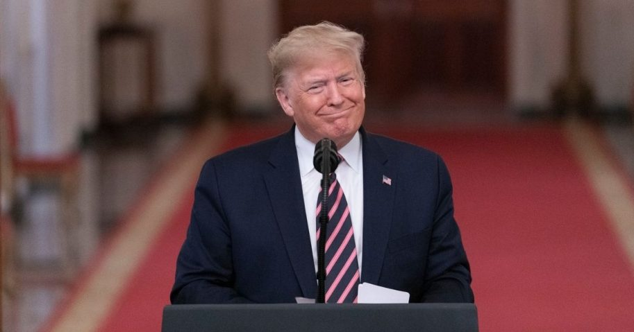 President Donald J. Trump addresses his remarks Thursday, Feb. 6, 2020 in the East Room of the White House, in response to being acquitted of two Impeachment charges. (Official White House Photo by Shealah Craighead)
