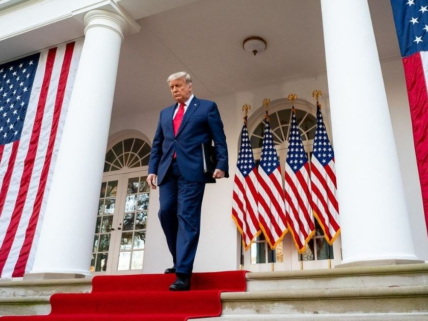 President Donald J. Trump delivers an update on the COVID-19 Coronavirus vaccine development Operation Warp Speed, Friday, Nov. 13, 2020, in the Rose Garden of the White House. (Official White House Photo by Tia Dufour)