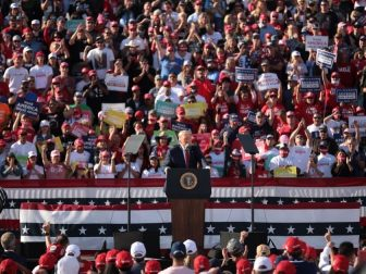 "President of the United States Donald Trump speaking with supporters at a ""Make America Great Again"" campaign rally at Phoenix Goodyear Airport in Goodyear, Arizona."
