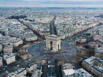 Aerial view of Arc de Triomphe in Paris, France.