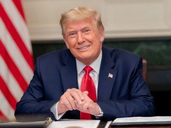 President Donald J. Trump speaks with military service personnel Thursday, Nov. 26, 2020, during a Thanksgiving video teleconference call from the Diplomatic Reception Room of the White House. (Official White House Photo by Shealah Craighead)