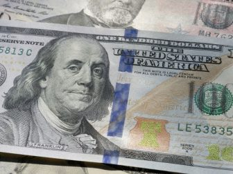 A US 100 Dollar bill in close up