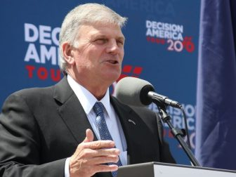 Rev. Franklin Graham speaks to attendees at a stop in Lincoln, Neb. during his Decision America tour in 2016.